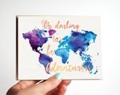 Oh Darling Let's be Adventurers Greeting Card - Adventure, Travel, Roadtrip, Nomad, Honeymoon Card - Watercolor World Map Traveler Art Gift