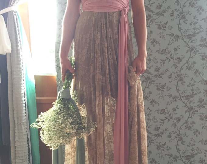Vintage Valentine~ Two Toned Lace with short slip Octopus Infinity Wrap Dress~Cottage Dusty Rose, Newport Mocha, Beige Lace