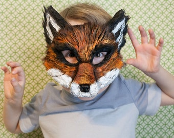 Child Sized Fox Mask, Ash Fox, Fantastic Mr. Fox child mask, Nick Wilde costume, zootopia fox Costume, Fantastic Mr. Fox,
