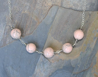 Pink Necklace, Pink Jade Necklace, Stone Necklace, Round Necklace, Beaded Necklace, Stone Necklace, Classic Necklace, Handmade Necklace