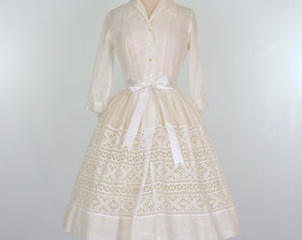 Vintage Party Dress...CAROL BRENT Sheer White Garden Party Dress Wedding Dress
