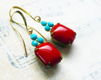 French Lipstick Red, Vintage Deep Opaque Red Smooth Glass Octagon Jewels & Turquoise Swarovski Crystal Earrings by Hollywood Hillbilly