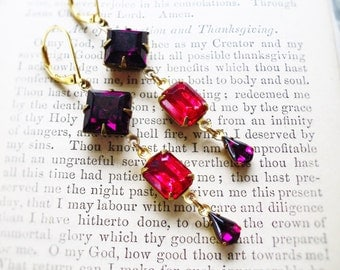 Fresh Berries,Vintage Blackberry Purple, Estate Style  Rhinestones & Vintage Rasberry Rhinestones Earrings by Hollywood Hillbilly