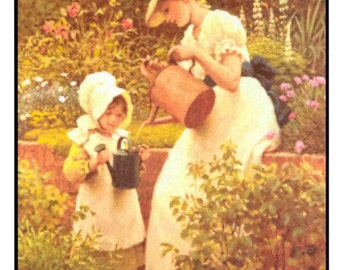 Counted Cross Stitch, Cross Stitch Patterns, The Young Gardener, Primitive Decor, Rustic Decor, Summer Decor, G.D. Leslie, PATTERN ONLY
