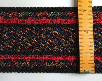 "Vintage 1970s Woven Upholstery Trim Multicolor on Black w/ Red Stripes, 3 and 1/8"" wide x 3 Yards"