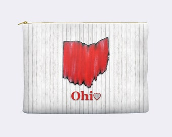 Ohio State Cosmetic Bag, state of Ohio cosmetic bag, toiletry bag, stocking stuffer, makeup bag, large cosmetic bag, zippered pouch, man bag