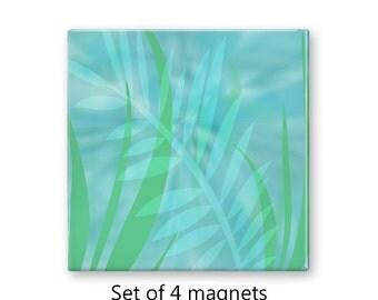 Aqua magnet set, pastel refrigerator magnets, tropical leaves fridge magnets, set of 4 decorative magnets, kitchen decor, large magnets