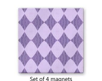 Diamond pattern fridge magnets, purple magnet set , refrigerator magnets, set of 4 decorative magnets, pastel kitchen decor, art magnets
