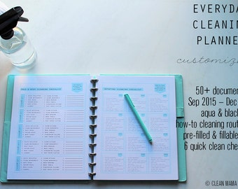 CLEAN - EVERYDAY Cleaning PLANNER - 50+ documents - standard and half size included - Instant Download
