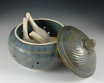 Original Light Blue Ceramic Garlic Keeper Carved facets