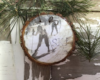 Vintage Girls Downhill Skiing - Snowplow - Christmas Ornament - Wood Slice Ornament - Vintage Ski - Gift Tag - Women Ski - Ski School