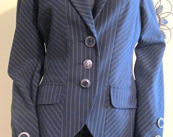 Fabulous Navy Blue Pinstripe Blazer. Navy Blue Suit Jacket.  Blue and White Pinstriped Jacket Blazer.