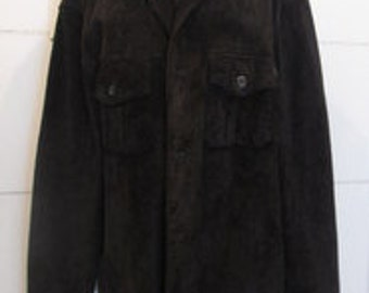 Brown Suede Jacket.  Brown Suede Coat.  Genuine Leather Suede Jacket. Mens Suede Jacket.  Mens Suede Coat. Size XL