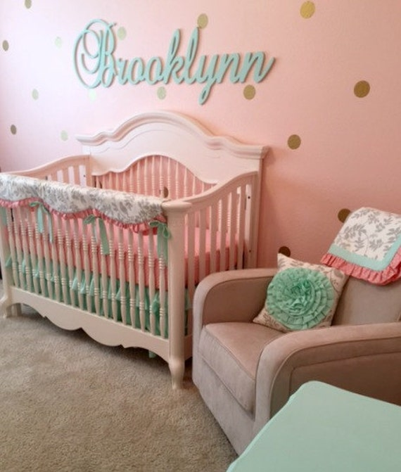 baby girl bedding in mint gray peach bumperless crib set. Black Bedroom Furniture Sets. Home Design Ideas