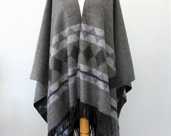Charcoal gray Poncho Autumn fall fashion Women clothing Native outerwear Aztec cape Grey Black poncho Winter shawl Boho chic wrap