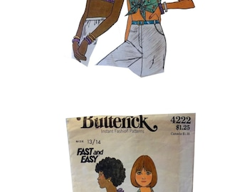 Boho Shirt Pattern, Halter Top Pattern, Summer Fashion, Midriff Shirt, Retro Sewing Pattern, Vintage Butterick 4222, Vintage Pattern