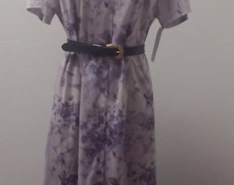 1980s Late 1970s Short Sleeve Polyester Shirt Dress, Lavender, Rockabilly Pin-up Dress, Size Large, XL,  #45332