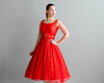 Vintage 1950s Lace Dress - Red 50s Dress - Favorite Shade Dress
