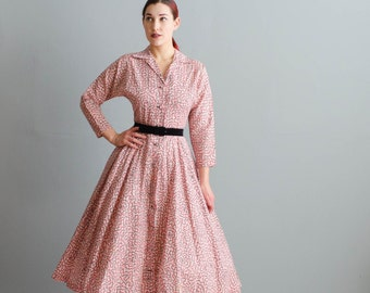 Vintage 1950s Gingham Dress - 50s Fit and Flare Dress - Disegnare Dress