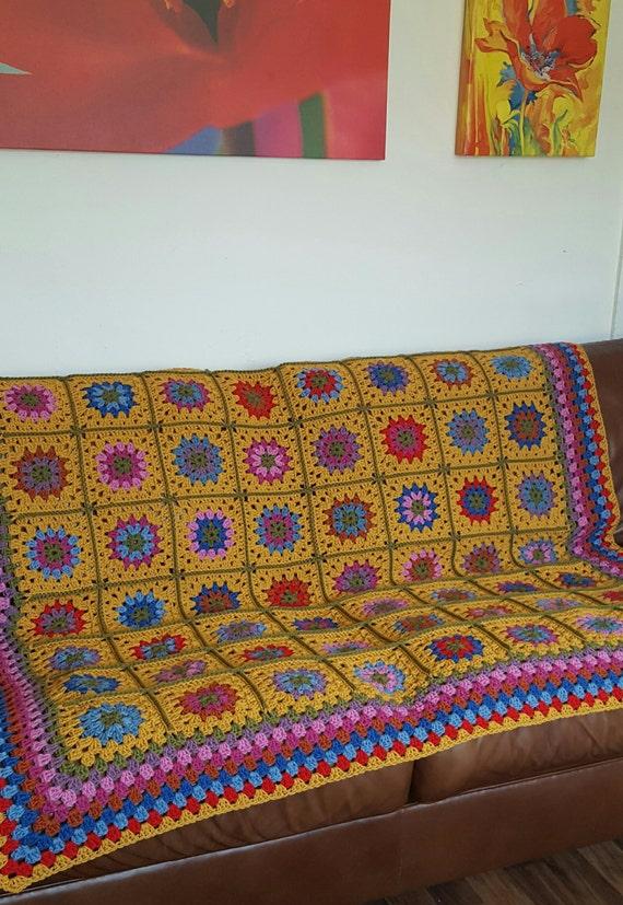 "Desert Flowers Pure Wool Afghan Blanket GRANNY SQUARES  60"" x 60"" Crochet"