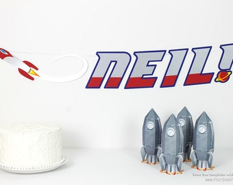Rocket Ship Banner : Handcrafted Custom Phrase Birthday Party Decoration | Space Party Banner | Astronaut Garland | Planet | Galaxy Sign
