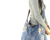 ACROSS BODY BAG - Hobo Purse - Hippie Purse - Blue Crossbody Bag - Slouch Bag - Crossbody Purse - Boho Bag - Bohemian Bag - Denim Bag