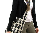SKULL BAG - Across the Body Bag - Crossbody Bag - Hobo Bag - Skull Purse - Crossbody Purse - Goth Bag - Boho Bag - Slouch Bag - Vegan Bag