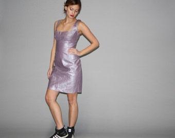 1990s Pastel Metallic Lavender Leather Supermodel Body Con Dress - 90s leather Dress - Vintage Pastel Leather Dresses - WD0675