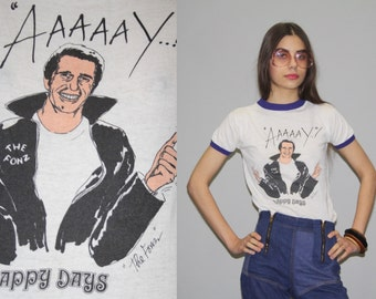 Vintage 70s Happy Days The Fonz Paper Thin Ringer Raglan T Shirt  - Vintage 1970s Paper Thin T Shirt  - 50/50 Cotton Poly Tee -  Wz0633