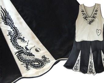 1920s Silk Pyjamas. Lounge or Beach Set. Wide Leg Pants. Japanese. Embroidered. Dragons. Pagoda. Art Deco. Flapper.