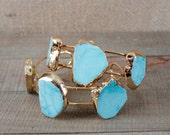 Triple Turquoise Statement Cuff Bracelet/ Natural Stone Gold Cuff Bracelet Bangle/ Blue Green Turquoise/ Gold Plated Cuff Statement (BCD12)