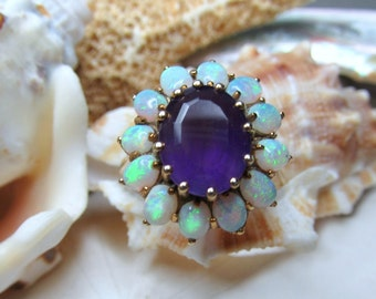 14k Opal and Amethyst Ring Vintage 4.42g Size 6.5