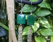 Tassel Earrings,Green Onyx Tassel Earrings,Long Earrings,Sterling Silver Earrings,Gemstone Earrings