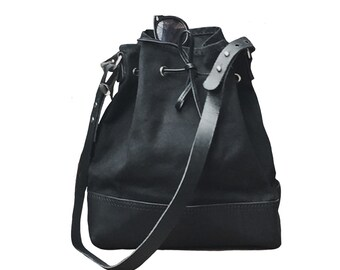 Black canvas and leather bucket bag
