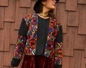 Vintage 70s MATADOR GUATEMALAN Cropped Bolero Rainbow Embroidery JACKET Handmade