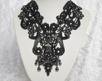 Marcasite & Black Lace Neck piece, Victorian, Steampunk, Goth, Lolita, Fetish, Bride, Bridal, Necklace, Collar, Choker, crystal, beaded