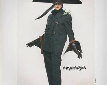 Vintage Fashion Magazine Ad L'Officiel de La Couture September 1987 Advertisement Pierre Balmain Pant Suit Hat Paris Haute Couture