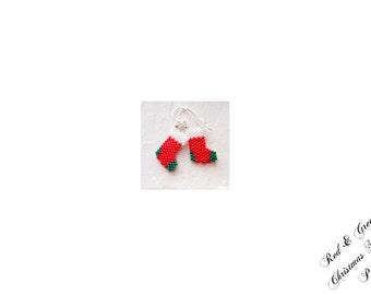 Christmas Stocking Bead PATTERN, Red and Green Socks,  Peyote/Brick Stitch | DIGITAL DOWNLOAD