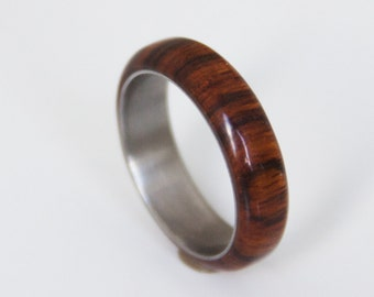 Titanium Ring  man ring wood wedding band cocobolo and titanium ring wood wedding band mens wedding ring