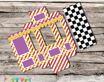 Wreck it Ralph Inspired - Yellow, Red and Purple Cake Pop Box - INSTANT DOWNLOAD