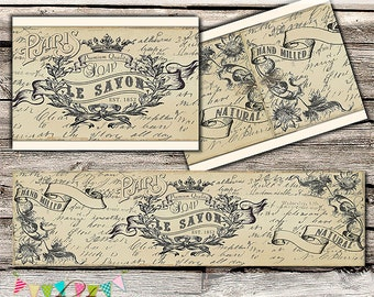 Vintage Soap Bands - Printable - Digital File - DIY - INSTANT DOWNLOAD