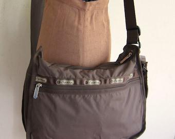 Vintage 1980s Brown Vinyl LeSportSac Handbag / 80s Designer Vinyl Bag