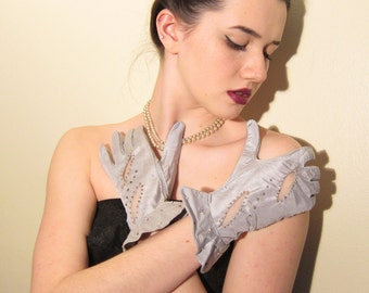 Vintage 1950s Blue Satin Evening Gloves / 50s Rhinestone and Pearl Beaded Party Gloves