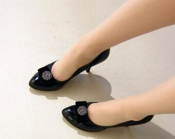 Vintage 1950s Black Pumps Martinique for Joseph / 50s Black High Heel Party Shoes Velvet Ribbon Silver Buckle / 7 1/2