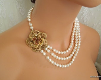 bridal necklace, pearl rhinestone necklace, Wedding Rhinestone necklace, swarovski crystal and pearl necklace, Statement necklace, FAYE