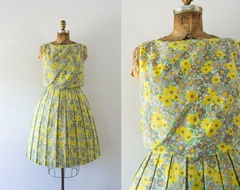 1960s Greying Meadow floral spring dress / 60s cotton beauty
