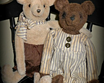 "Primitive ""Benny Bear & Gracie"" Instant download PDF e-pattern"