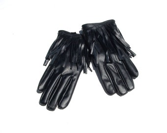 vintage  VEGAN black fringe warm winter costume Prince gloves extra small XS S vintage 90s 1990s club kid hipster free shipping