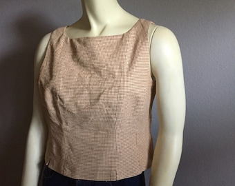 S/M houndstooth boat neckline 90s vintage preppy 1990s sleeveless CARLISLE knit tank top small medium puppies tooth beige tan side zipper