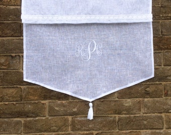 Personalized Sheer Linen Window Curtain, Embroidered Monogram, White Tassel Kitchen Curtain, Bathroom Curtain, New Home Gift